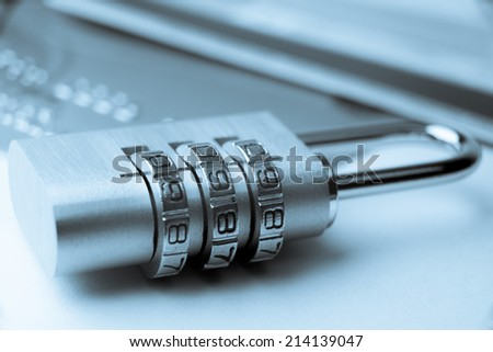 Credit card payment online security padlock lock - stock photo