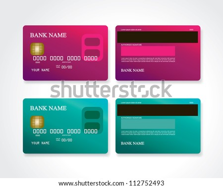 Credit card pink and turquoise - stock photo