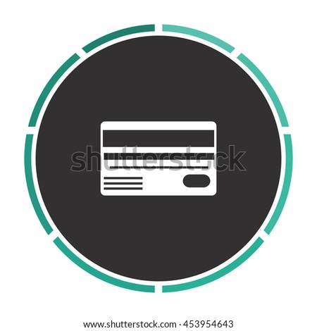 Credit card. White circle button on black background - stock photo
