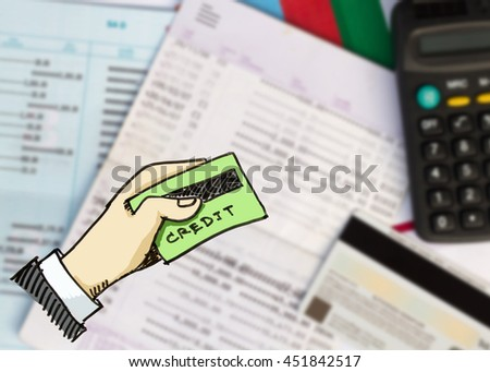 credit card with blur image of book bank account on background - stock photo