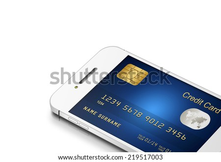credit card with mobile phone isolated on white background  - stock photo