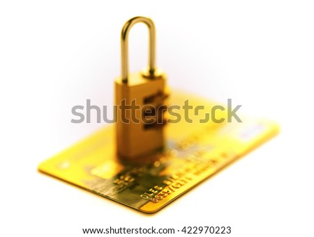 Credit cards and gold lock. yellow Credit cards in shallow focus. Closer-Up Credit card. Credit Card with chip. Credit cards for payment. Several credit cards. Credit card number. - stock photo