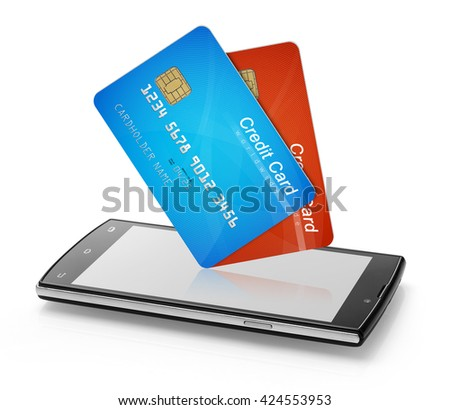 Credit cards and mobile phone - stock photo