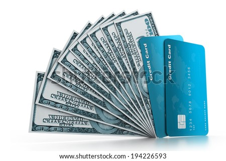 Credit cards and money - stock photo