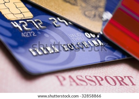 credit cards and passport - stock photo
