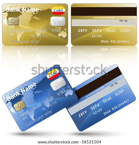 Credit cards, front and back view - stock photo