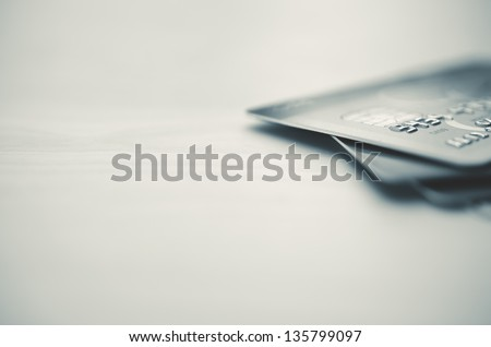 Credit cards in very shallow focus - stock photo