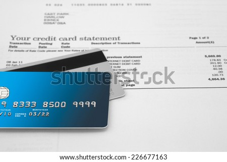 Credit Cards on a credit Statement - stock photo