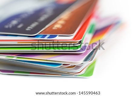 credit cards stack close up - stock photo