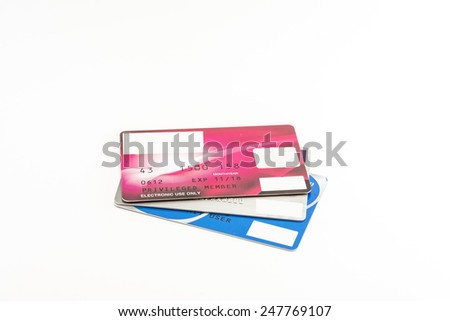 credit cards stack on white background - stock photo