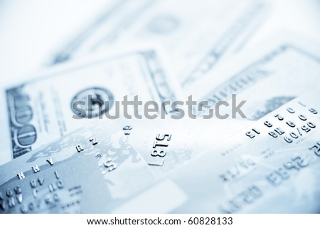 Credit Cards With US Dollar - stock photo