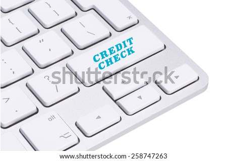 Credit check button on keyboard - stock photo