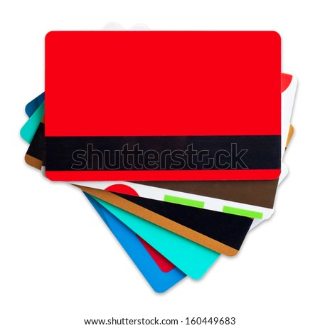 Credit, discount cards isolated on white background. - stock photo