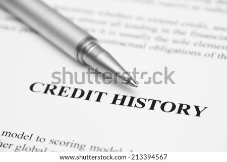Credit History. Ballpoint pen on Credit History (Credit Report).  Black and White. - stock photo