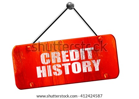 credit history, 3D rendering, vintage old red sign - stock photo