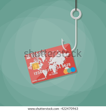 credit or debit plastic bank card on fishing hook,anti fraud, internet security, safety payments. illustration in flat design on green background - stock photo