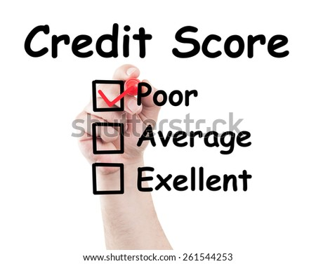 Credit score poor checked box made by hand using a marker on transparent wipe board with white background - stock photo