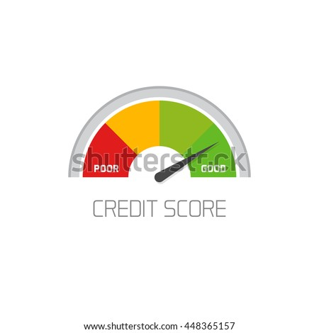 Credit score scale showing good value  icon isolated on white background, flat colorful financial history assessment of credit score meter image - stock photo