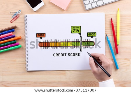 Credit Score sketch on notebook - stock photo