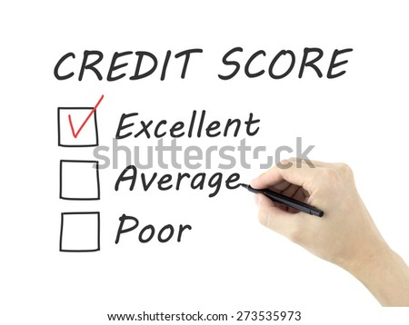 credit score survey written by man's hand on white background - stock photo