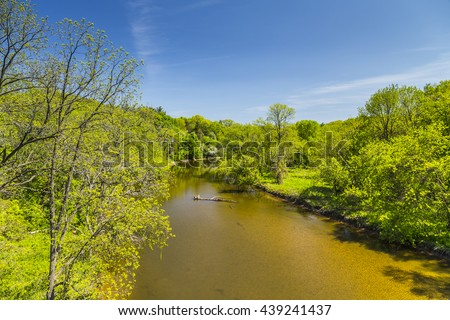 Creek running through Bronte, Oakville Ontario Canada - stock photo