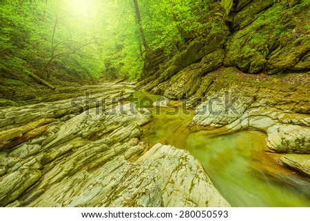 Creek with clear water in the deep canyon. - stock photo