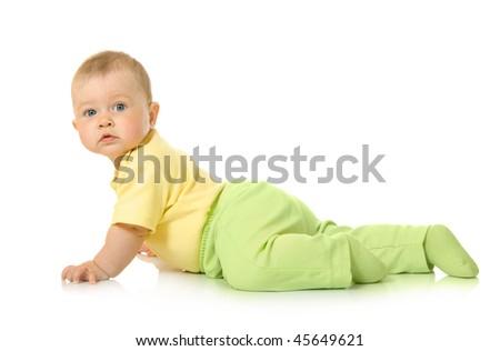Creeping small baby isolated - stock photo