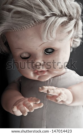Creepy doll face - stock photo