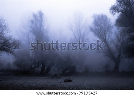 Creepy landscape painting showing dark forest on misty autumn day. - stock photo