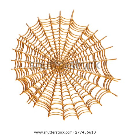 Creepy spider web in gold over white background. - stock photo