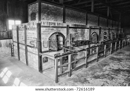 Crematory in Majdanek german nazi concentration camp near Lublin - stock photo