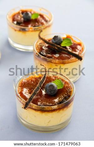 Creme brulee (cream brulee, burnt cream) - stock photo