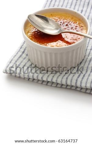 creme brulee , cream brulee , burnt cream , french dessert - stock photo