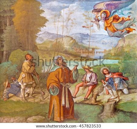 CREMONA, ITALY - MAY 25, 2016: The fresco of St. Joachim with the Angel  in The Cathedral by Boccaccio Boccaccino (1466 - 1525). - stock photo