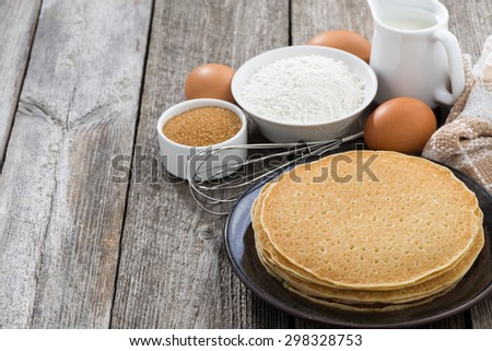 crepes and ingredients for their preparation, horizontal - stock photo