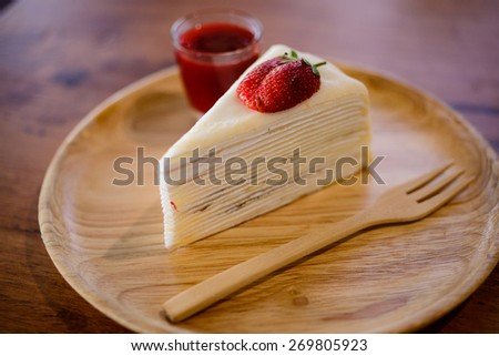 Crepes Strawberry Cake Shop, eat with your coffee to taste delicious. - stock photo