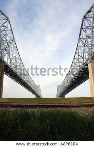 Crescent City Connection, New Orleans Mississippi River Bridges - stock photo