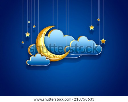 crescent clouds and stars on a light background - night scene design - stock photo