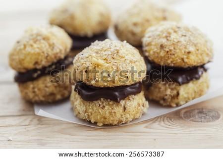 Crescent Cookies ( Homemade Chocolate Walnut Cookies) - stock photo