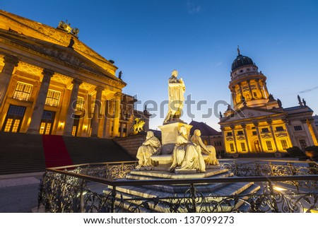Crescent moon and pretty night time illuminations of the Brandenburg Gate (1788), Berlin, Germany. - stock photo