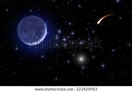 Crescent Moon with a comet (shooting star) on a dark starry skies. - stock photo