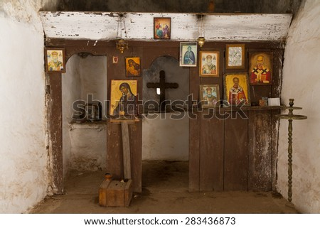Crete, Greece: 24 August 2014. Basilica st. Nicolaus in Samaria gorge. Crete Greece - stock photo