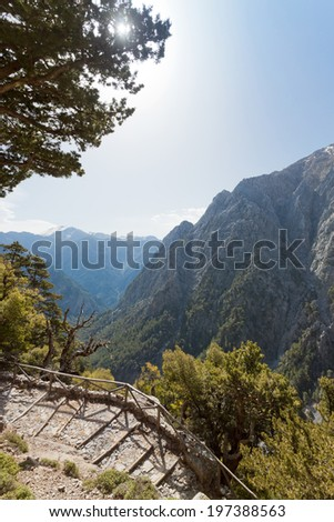 Crete - Greece - Entrance of the Samaria Gorge - stock photo