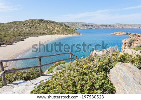 Crete - Greece - Hiking trail to Vai Beach - stock photo