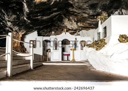 CRETE, GREECE - OCTOBER 10: Saint Thomas Church in Milatos Cave on October 10, 2014 in Crete, Greece. It was built in 1935 to commemorate those that died during the massacre. - stock photo