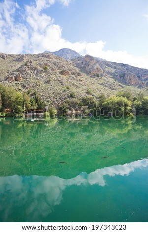 Crete - Greece - Trout breeding in Zaros - stock photo