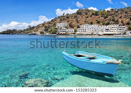Crete, southern coast, village of Loutro - stock photo