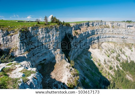Creux du van amphitheater, Neuchatel, Switzerland - stock photo