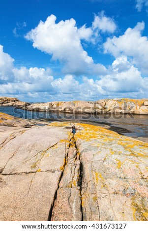Crevice in the rock with yellow lichen by the sea - stock photo