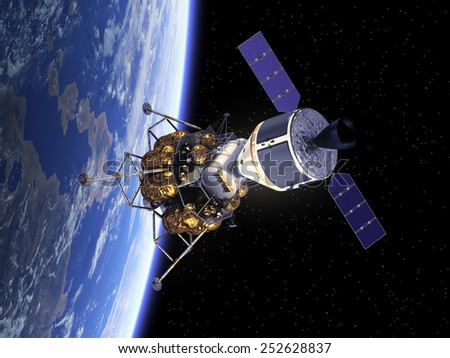 Crew Exploration Vehicle In Space. 3D Scene. Elements of this image furnished by NASA.  - stock photo